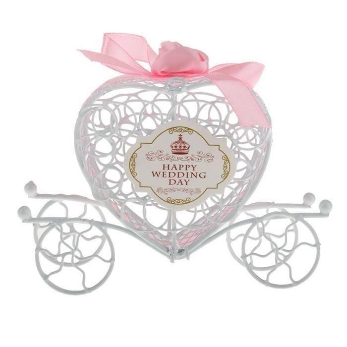 Boîte à Dragée Carrosses plexi Theme Chic Princesse Glam pour baptême Mariage Communion Ballotin à dragées Design et Moderne Boîte