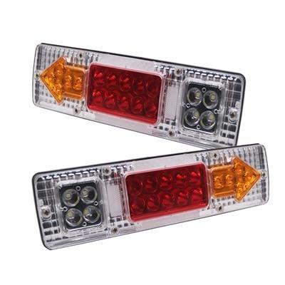 2pcs white 24V -Marlaa 12V Rouge Ambre Blanc 19 LED Imperméable De Camion De Voiture LUMIÈRE LED DE REMORQUE Feux Arrière L'inver