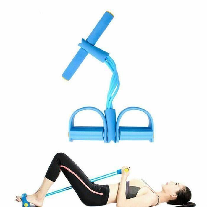 Fitness Gum 4 Tube Bandes de résistance Latex Pédale Exerciseur Sit-up Pull Rope Expander Bandes élastiques Équipement de yoga bleu