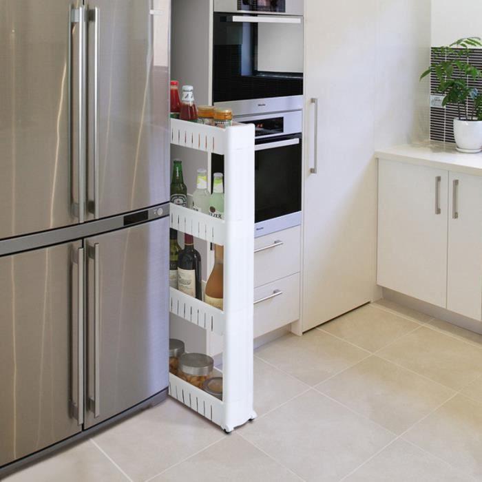 4 étages Etagère de rangement, Armoires de cuisine, Chariot de stockage, Meuble de rangement à roulettes - Blanc