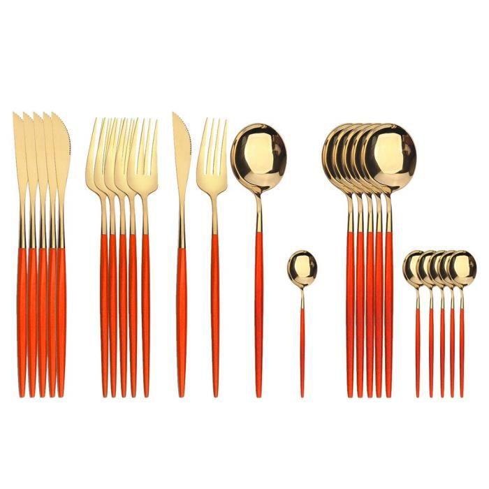 Services de table,Couverts de table en acier inoxydable,24-30-36 pièces,de noël,rouge,vert,noir,or,cuillère - Type red gold 24
