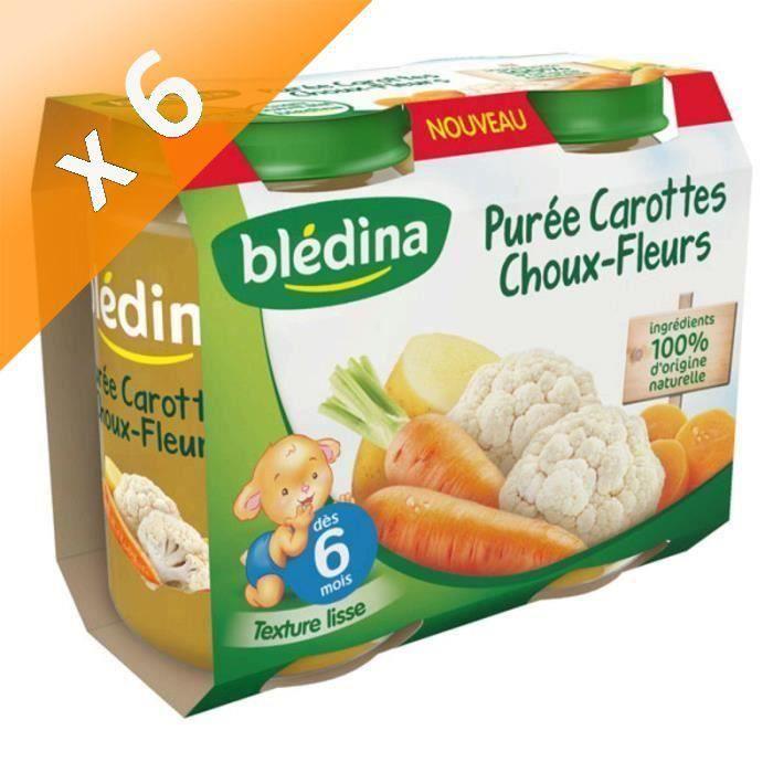 Lot de 6 - BLEDINA Petits pots Purée carottes choux-fleurs - 2x200 g - Dès 6 mois
