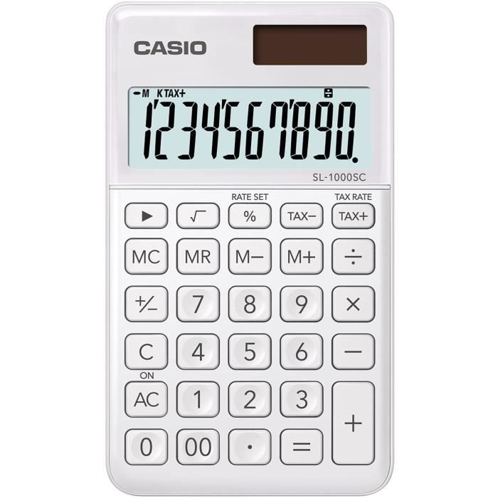 CASIO Calculatrice de poche SL-1000SC-WE-S-EP blanche