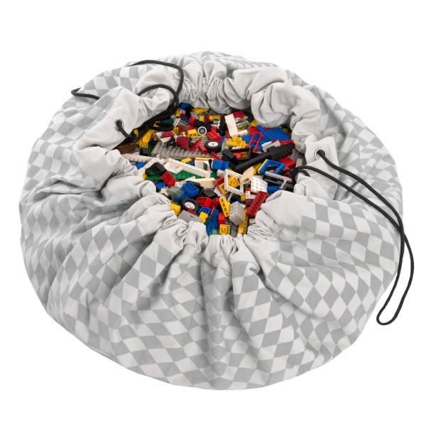 Sac a jouet coton pour vetements et jouets 2 en 1 tapis de jeux rond 120cm Gris Sac Tapis de Jeu