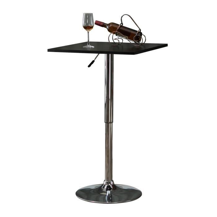 Table de bar table bistro chic style contemporain table carrée hauteur réglable dim. 60L x 60l x 82-103H cm métal chromé MDF noir