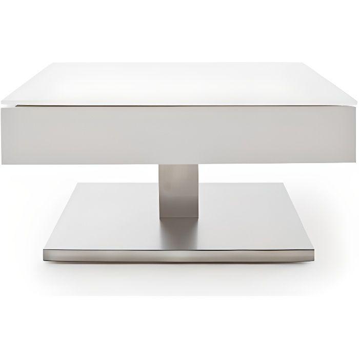 Table basse MARSEILLE laquée blanc mat plateau en verre trempé blanc mat blanc Inside75