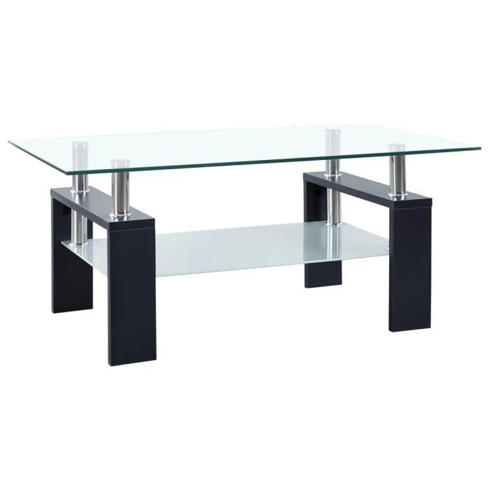 Table basse Noir 95x55x40 cm Verre trempé-REN