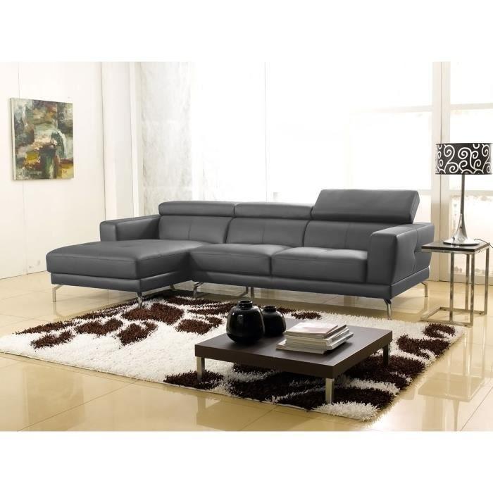 Canapé d'angle gauche en cuir gris souris OSLO