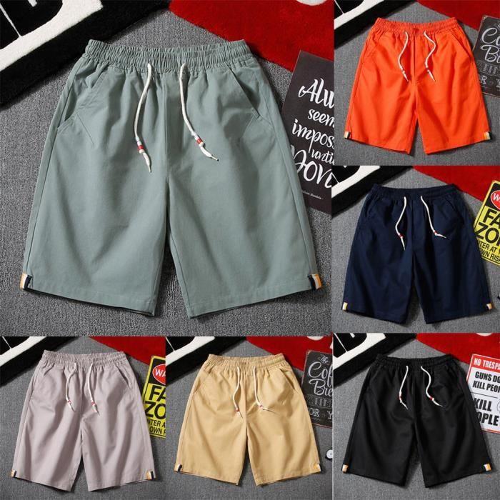 Hommes d'été nouveau short de ceinture de mode simple Shorts de couleur pure à la mode
