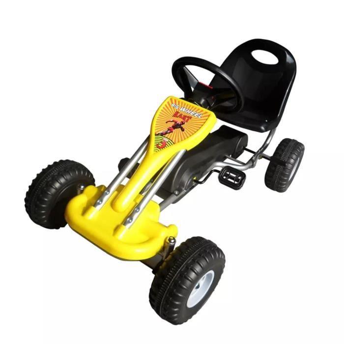 Kart à pédales Jaune Voiture 30 kg Miniature Go-Kart cadeau enfant noel - Convient pour 4 à 8 ans