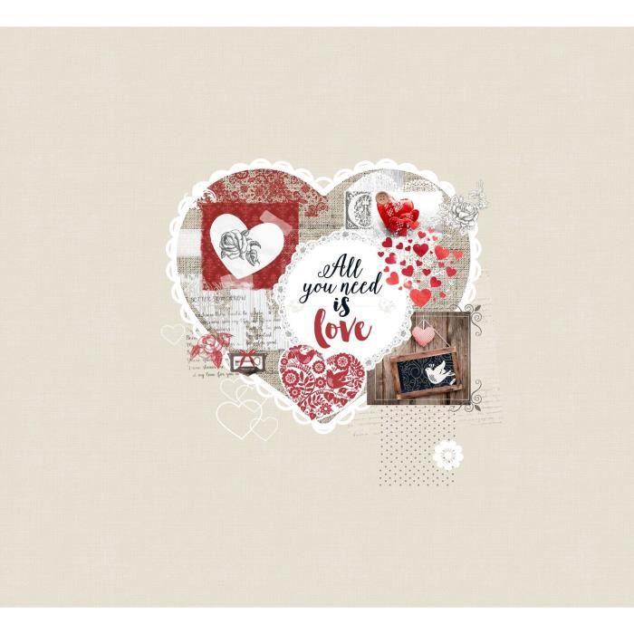 SOLEIL D'OCRE Plaid polaire WINTER HEART 130x150 cm - Beige et rouge