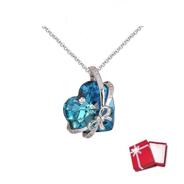 Collier Coeur Love Cristal Swarovski* Turquoise Plaqué Or Blanc 750