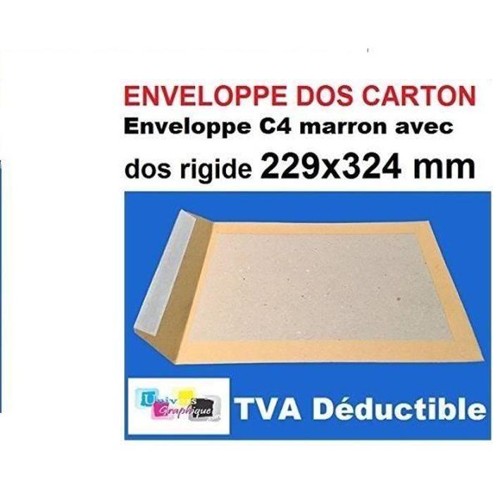 Lot de 10 enveloppe DOS CARTON RIGIDE A4, pochette MARRON blond C4 229 X 324 poche, sac rigide pour envoi sans plier. l'enveloppe