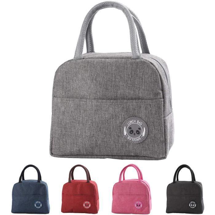 Sac Isotherme Repas Bureau Lunch Bag Sac de Transport Repas Pique-Nique Sac de Poche Toile Imperméable isol Gris