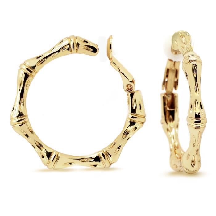 Womens Bamboo Clip On Hoop Earrings Gold Plated Alloy Fashion 1.25 Inches B9LS7