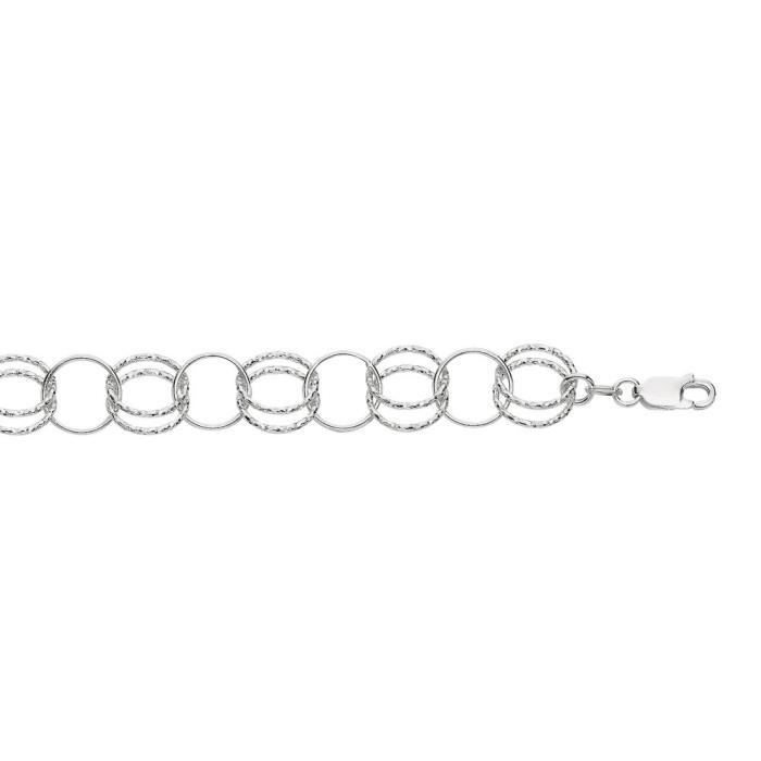 Rhodium argent Sterling plaqué Bracelet 21 cm-Fancy