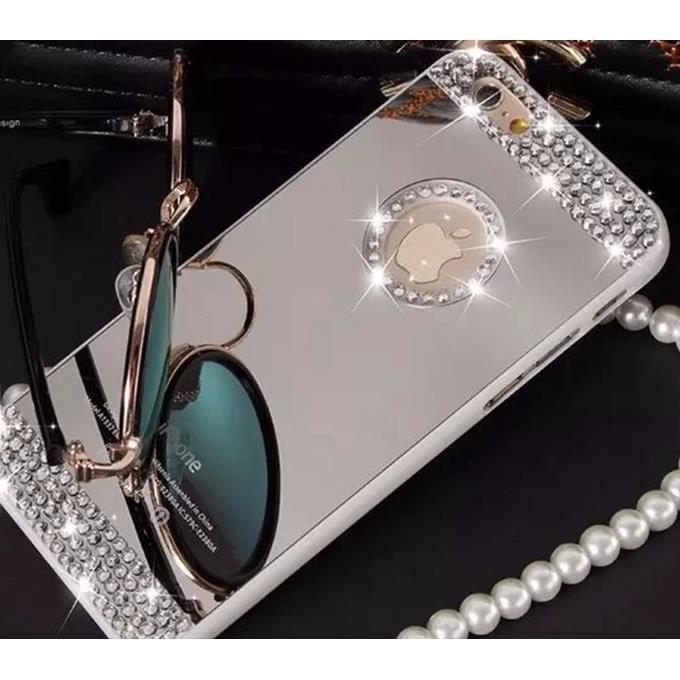 coque iphone 4 4s miroir argent diamant luxe bling