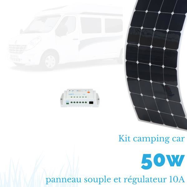 kit panneau solaire souple camping car 50 w complet 12 v achat vente kit photovoltaique. Black Bedroom Furniture Sets. Home Design Ideas