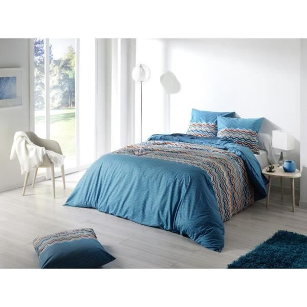 housse de couette 240x260 cm essentiel bleu cd 2 taies d oreiller 65x65 cm 100 pur coton. Black Bedroom Furniture Sets. Home Design Ideas