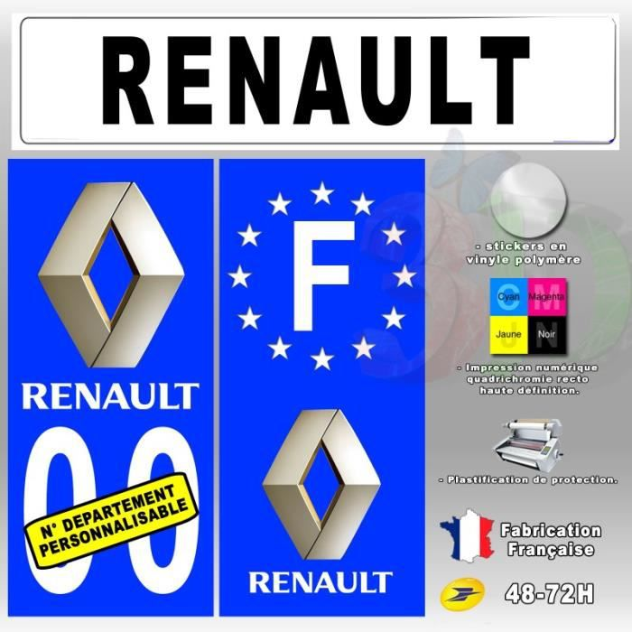 stickers plaque d 39 immatriculation 39 renault 39 auto moto. Black Bedroom Furniture Sets. Home Design Ideas