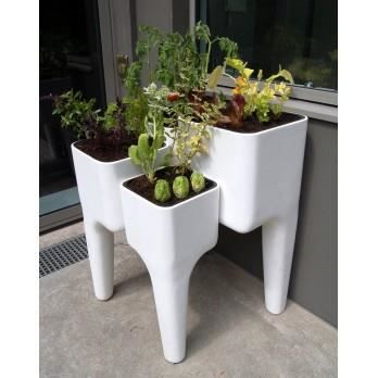Table potag re balcon terrasse kiga blanche 72 achat - Carre potager sur terrasse ...