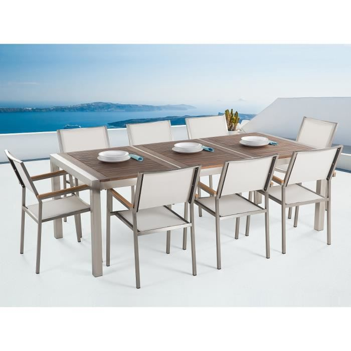 table de jardin acier inox plateau bois 220 cm 8 chaises en textile blanc grosseto achat. Black Bedroom Furniture Sets. Home Design Ideas