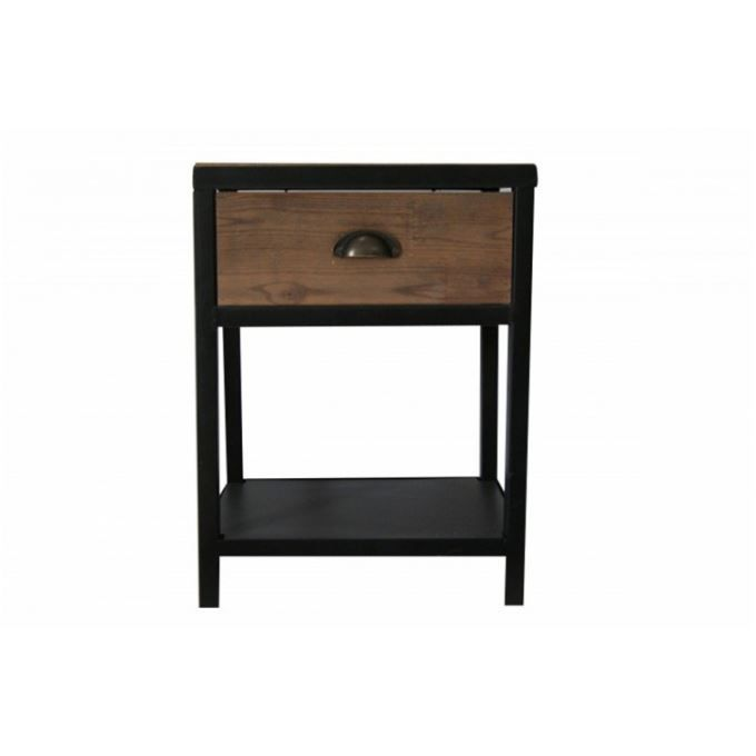 chevet en bois et acier industriel bridge achat vente. Black Bedroom Furniture Sets. Home Design Ideas