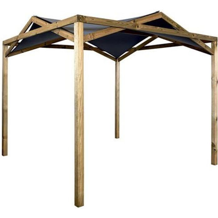 pergola tonnelle en bois avec toile polyester eclipse achat vente tonnelle barnum pergola. Black Bedroom Furniture Sets. Home Design Ideas