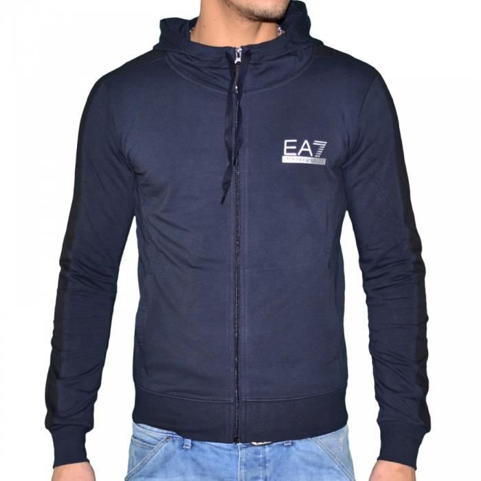 ea7 emporio armani veste sweat bleu achat vente veste cdiscount. Black Bedroom Furniture Sets. Home Design Ideas