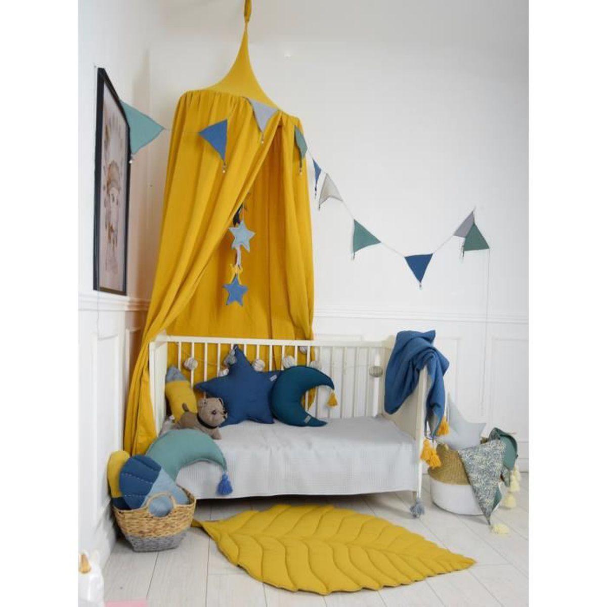 Tete De Lit Voile solenzo - tente ciel de lit jaune moutarde pour chambre d