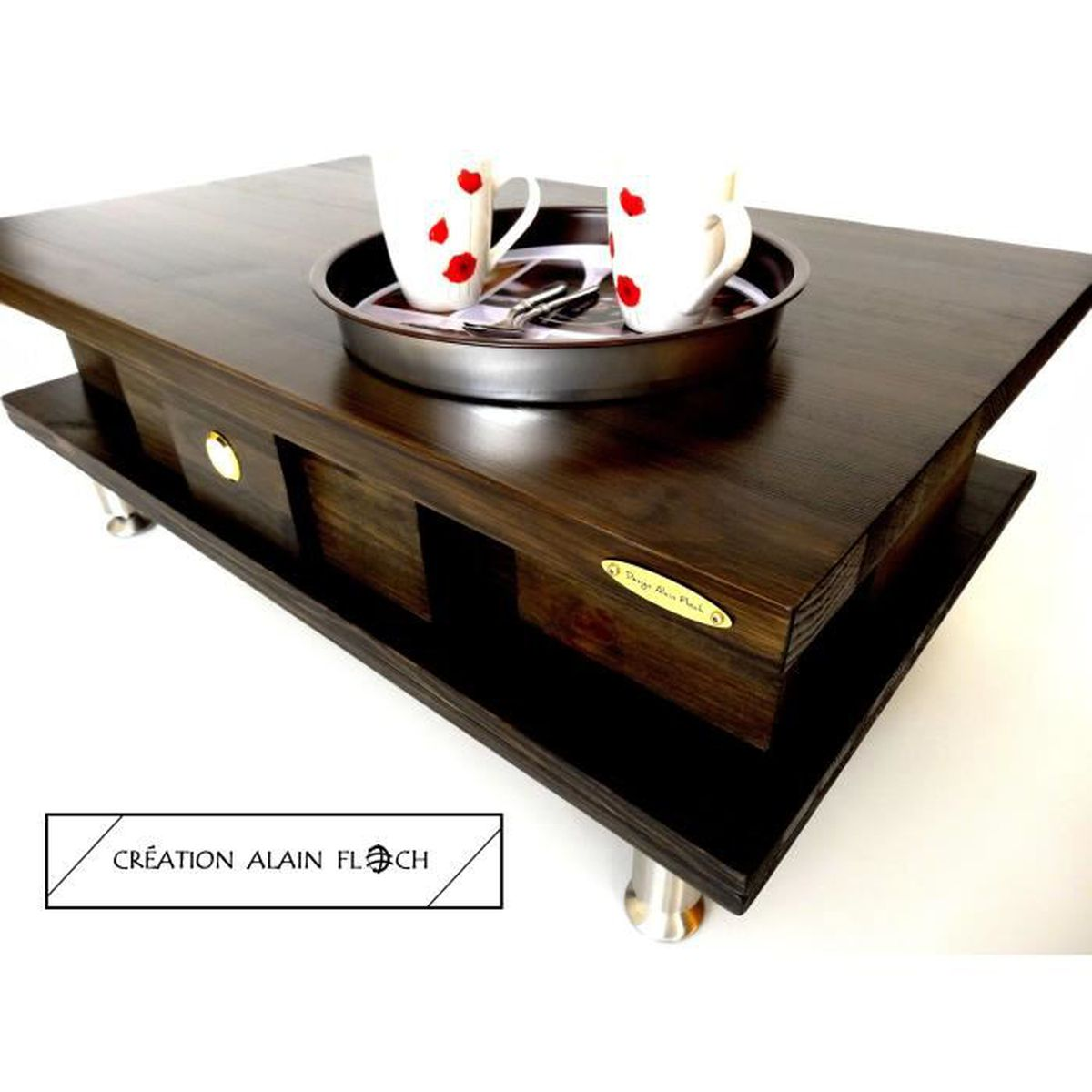table basse soleta 2 design alain floch unique original moderne bois massif thermom tre. Black Bedroom Furniture Sets. Home Design Ideas