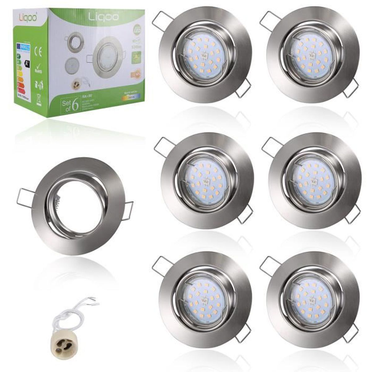 liqoo lot de 6 spots encastrables gu10 led 6w 530lm projecteur rond 220v blanc chaud lampe. Black Bedroom Furniture Sets. Home Design Ideas