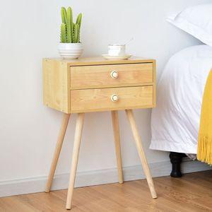 WOLTU TS119ws Table de Chevet en Design R/étro et Classique Table dappoint pour Salon Table Basse avec 2 Tiroirs Table de Nuit en MDF Blanc
