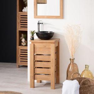 MEUBLE VASQUE - PLAN Petit Meuble salle de bain WC ZEN en teck 40cm
