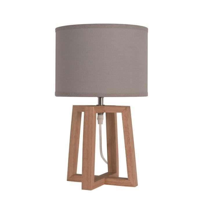 lampe poser chevet beker avec abat jour hauteur 38 cm diam tre 22 cm e14 40w naturel et taupe. Black Bedroom Furniture Sets. Home Design Ideas
