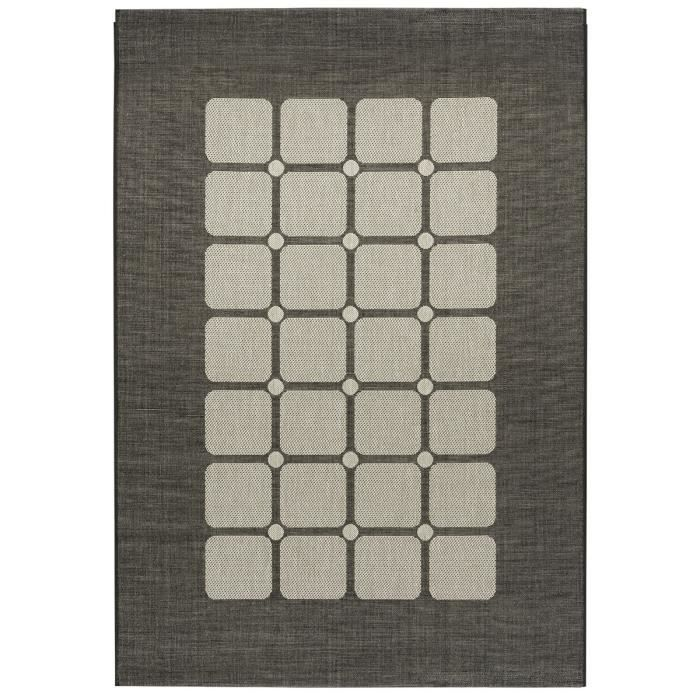 floorluxe tapis de salon tiss plat black silver 120x170. Black Bedroom Furniture Sets. Home Design Ideas