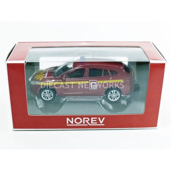Voiture Miniature de Collection - NOREV 1/64 - RENAULT Megane Estate Pompier - Red / Yellow - 319211_MEGPOMP