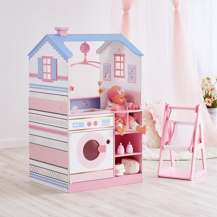 Maison de poupon nurserie 2 façades berceau bain chaise haute bascule machine à laver bois poupée mixte fille Olivia's Little World