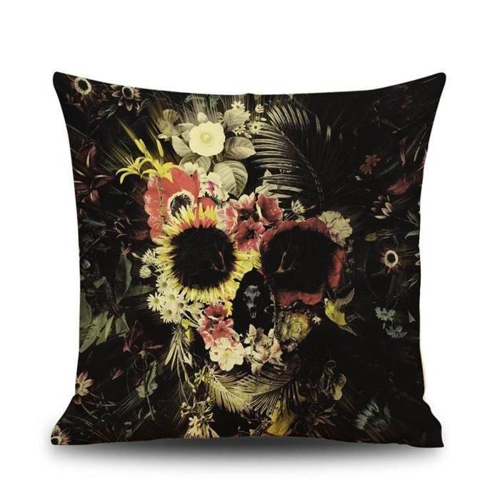 SODIAL(R)Taie d'oreiller du motif de crane de creme Carre ,Housse de Coussin de Sofa Decor d'Halloween , Couleur noir de fleur
