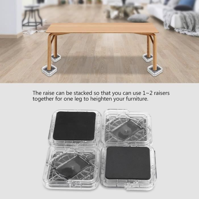 8pcs Pied de meubles Riser de fourniture Réhausseur de meuble Lit - Table - Bureau - Canapé-Chaise -SIE