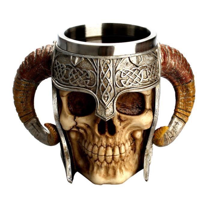 Tasse de crâne en acier inoxydable thé à boire tasse de bière Viking 3D résine VERRE A BIERE - CHOPE A BIERE - BOLEE A CIDRE