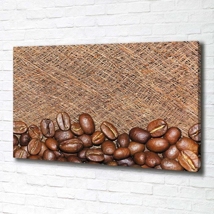 Tulup 100x70 cm art mural - Tableau sur toile:- Nourriture boissons - Grains De Café - Brun Gris Blanc