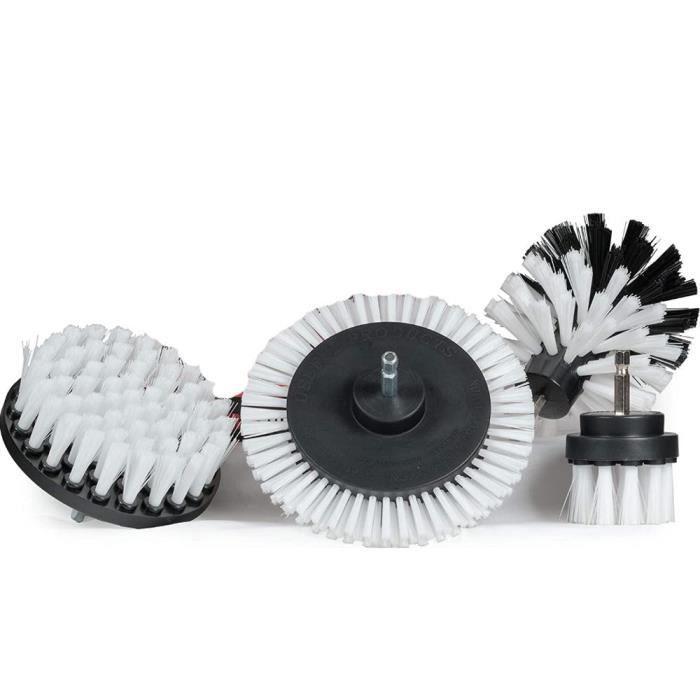 White 4 pcs M -Ensemble de brosses de nettoyage, pour perceuse douce, épurateur électrique, fixation de perceuse, tapis, épurateur d