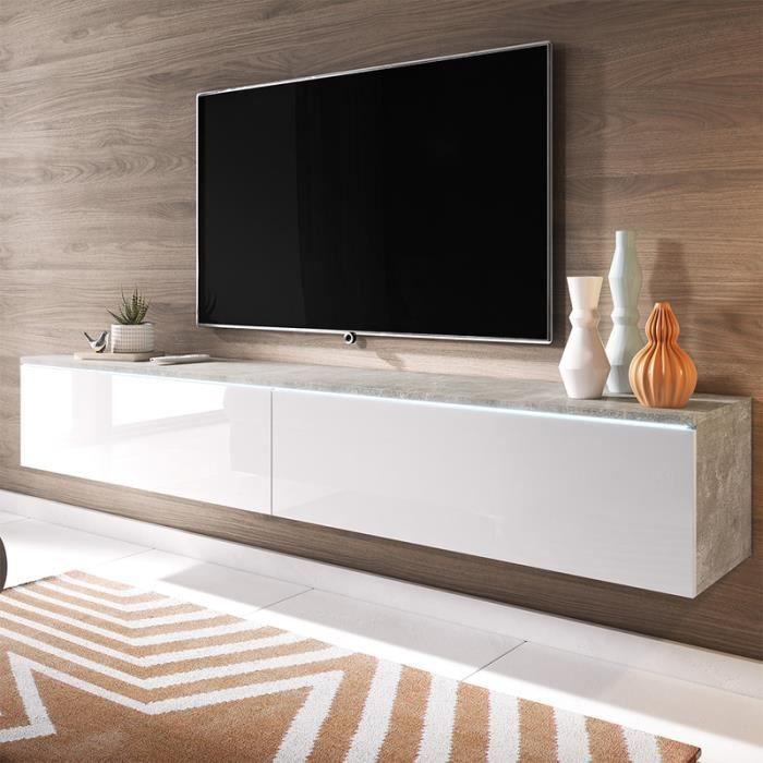 Meuble TV / Meuble de salon - KANE - 180 cm - béton / blanc brillant - avec LED - style moderne