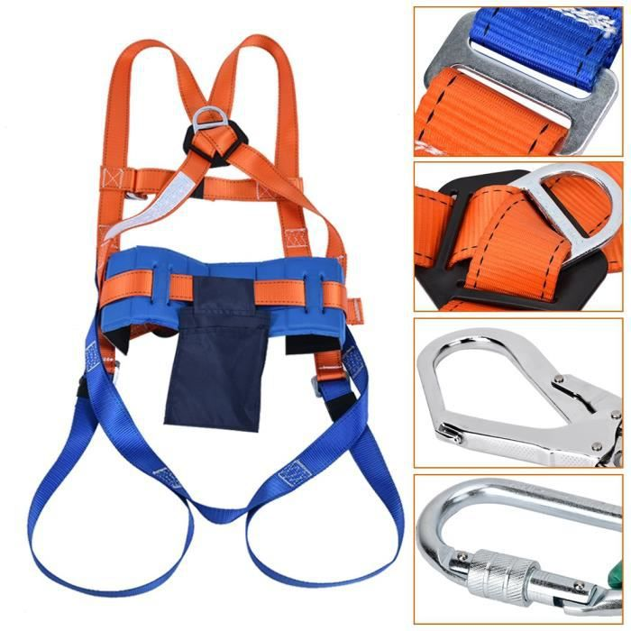 Harnais de sécurité antichute avec crochet - Portant 330,7 lb, points de suspension avant et arrière, corps entier, équipement