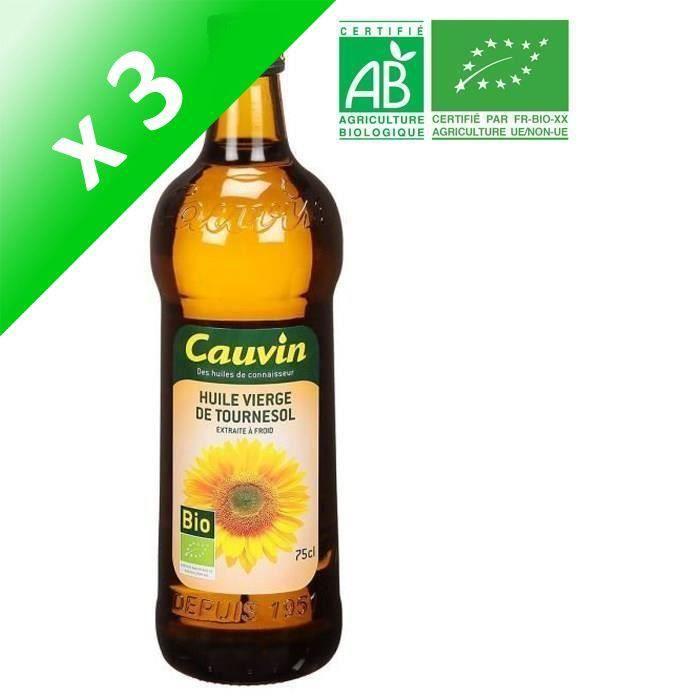 [LOT DE 3] CAUVIN Huile Tournesol Bio - 75 cl