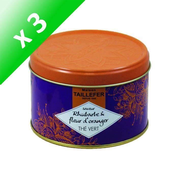 [LOT DE 3] MAISON TAILLEFER Thé vert et fleur d'oranger - Saveur Rhubarbe - Boîte de 80 g