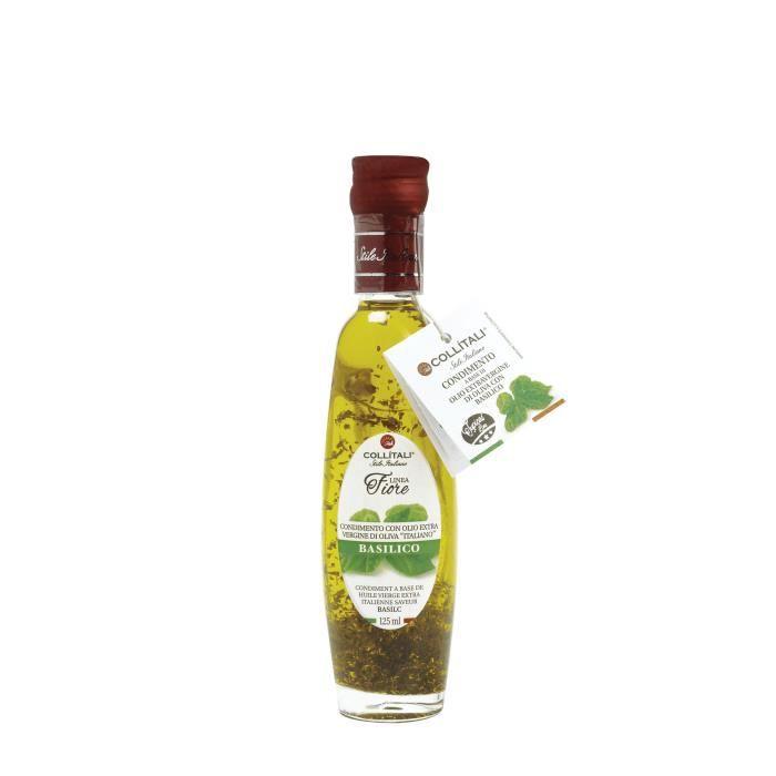 COLLITALI Bouteille -poignée design- FIORE huile olive Italie saveur basilic - 125 ml