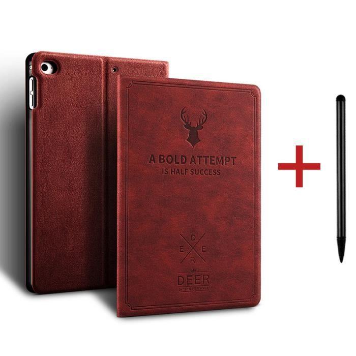 Coque iPad 7 10.2- 2019 [ +Stylet ] Cerf Réveil/Sommeil Automatique Case Housse Protection Étui iPad 7 10.2- 2019 -Rouge