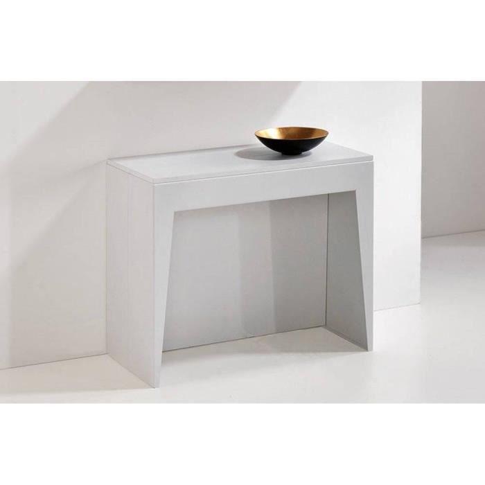 Table console extensible COSMIC blanc mat blanc Bois Inside75